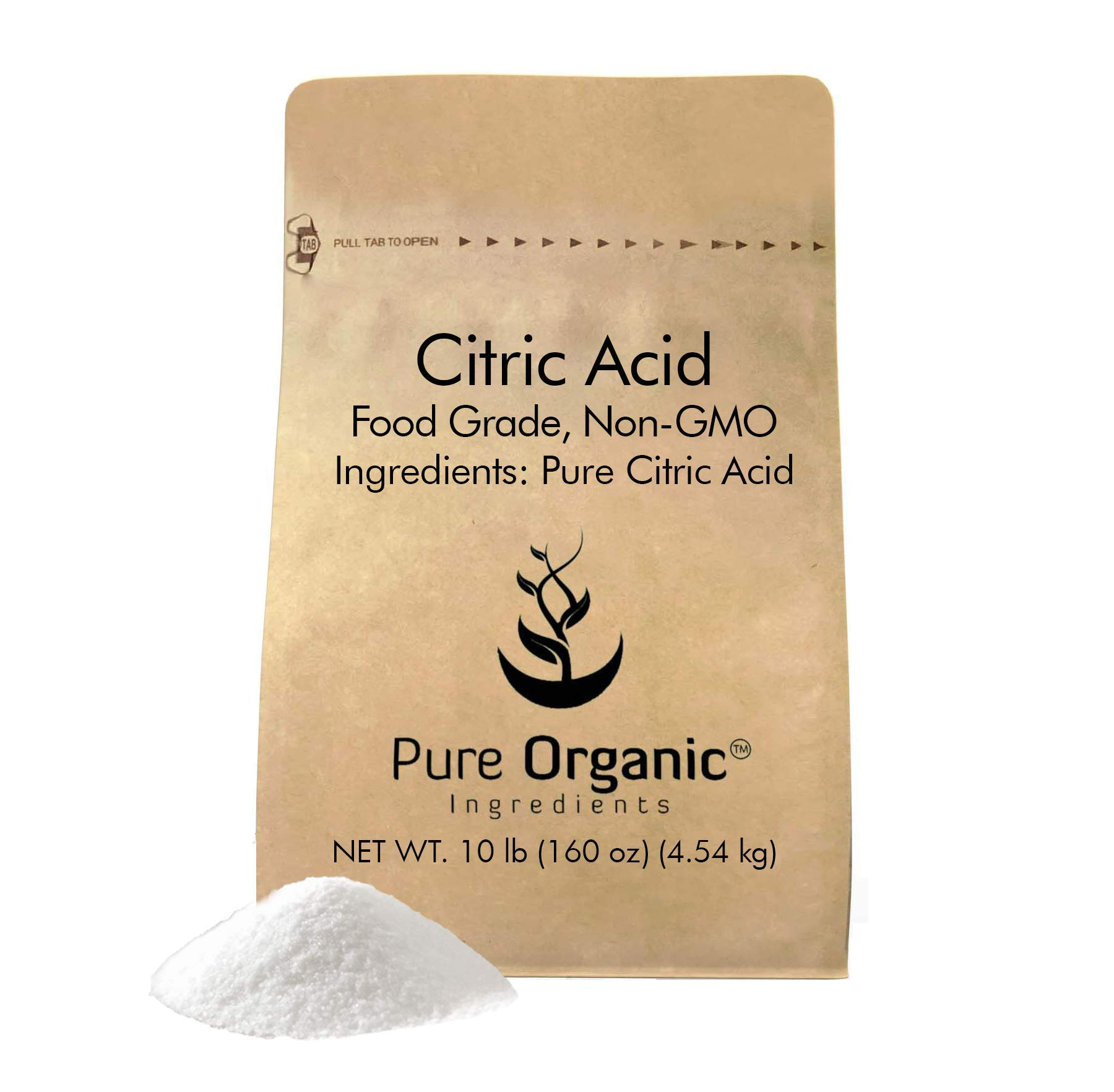 Citric Acid (10 lb.) by Pure Organic Ingredients, Eco-Friendly Packaging, All-Natural, Highest Quality, Pure, Food Grade, Non-GMO (also available in 4 oz, 11 oz, 1 lb, 2 lb, 5 lb, 50 lb)