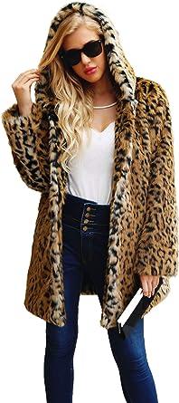 Fonkelnieuw Women's Leopard Faux Fur Coat Vintage Warm Long Sleeve Parka CE-41