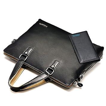 Ranbow hombre funda maletín doble mango suave caso negocio bolso de mano portátil bolsa bolso de archivo con cartera negro negro free: Amazon.es: ...