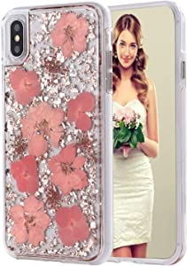 INKOMO iPhone Xs Max Case, Women Luxury Fashion Natural Flower Glitter Foil Sparkle Hard Back Cover with Clear TPU Bumper Protective Phone Bling Case for iPhone Xs Max 6.5 inch 2018 (Pink Flower)