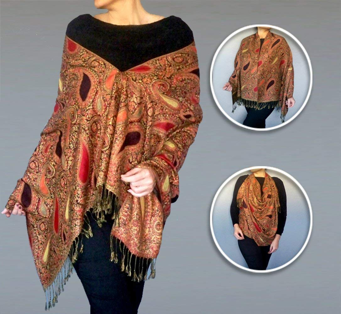 Plus Size Wrap Paisley Pashmina Scarf Womens Oversized Red Shawl Top By ZiiCi