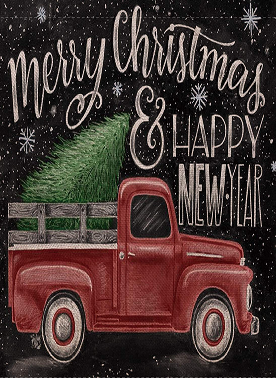 Selmad Home Decorative Merry Christmas Garden Flag Red Truck Double Sided, Rustic Xmas Quote House Yard Flag Pickup, Winter Holidays Garden Decorations, Happy New Year Seasonal Outdoor Flag 12 x 18