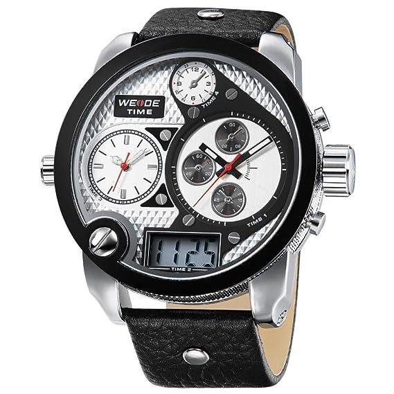 Cursonline® Elegante Reloj Hombre Niño Weide WH2305 XXL Oversized Tiempo Analógico & Digital Triple Luz
