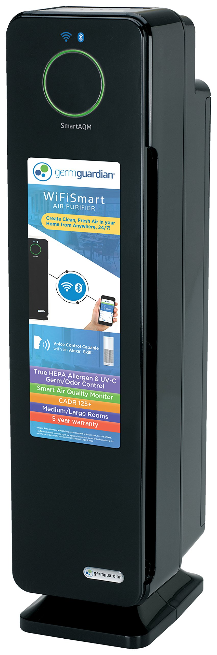 GermGuardian CDAP5500BCA WiFi Smart 4-in-1 Air Purifier, SmartAQM Air Quality Monitor, Voice Control, True HEPA Filter, UV-C Sanitizer, Reduce Allergens & Odors, 28-inch Germ Guardian Air Purifier