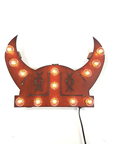 Viking Helmet lighted sign made out of rusted steel