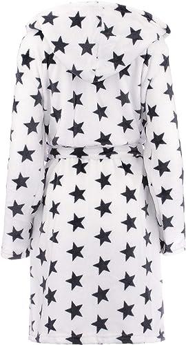 Colore: Grigio//Bianco Stelle L//XL Dimensione: S//M Brandsseller Accappatoio da Donna con Cappuccio