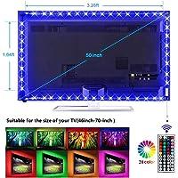 Led TV Backlight Kit, 5050 RGB Background Lighting with 44 key Remote Monitor Bias Lights USB Strip Light for 40''- 70'' HDTV