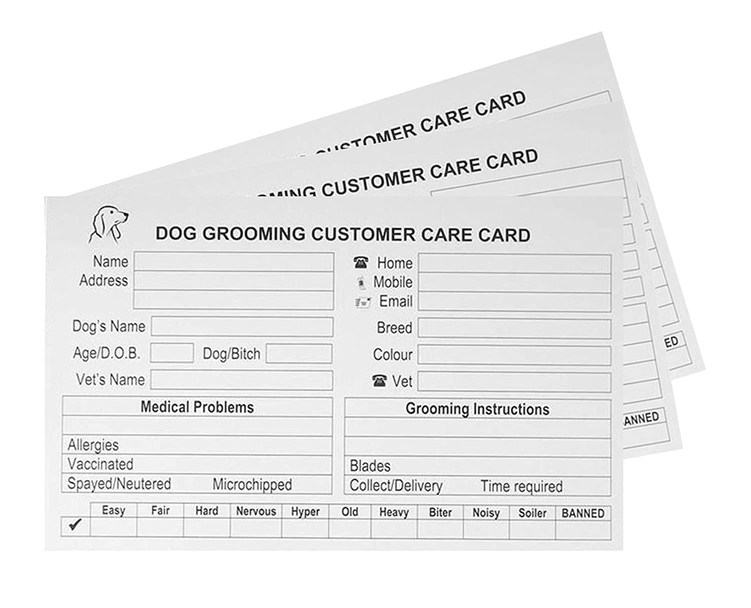 dog grooming record card template free resume templates