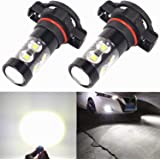 Alla Lighting Extremely Super Bright High Power 50W CREE 5202 H16 Type 1 White LED Lights Bulbs for Fog Light Lamps Replacement
