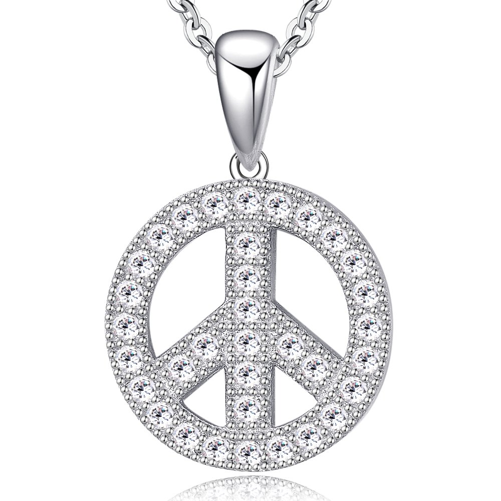 Ashley Jeweller Rhodium Plated Sterling Silver Cubic Zirconia CZ Peace Sign Fashion Pendant Necklace 18