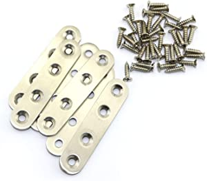 6pcs 80mm Stainless Steel Straight Brackets with Screw Fasteners Flat Brace Joint Fastener Mending Repair Plate Fixing Connector