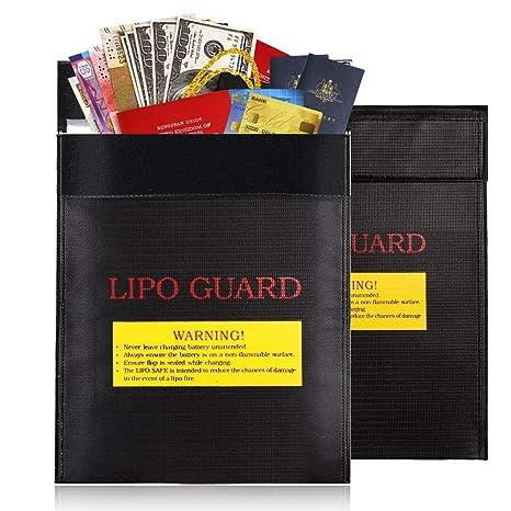 Bolsa Protectora de Documentos ignífuga e Impermeable, para bateríasm Dinero en Efectivo, Tarjetas, joyería, Papeles, Pasaporte, Color Negro - 18 x 23 ...