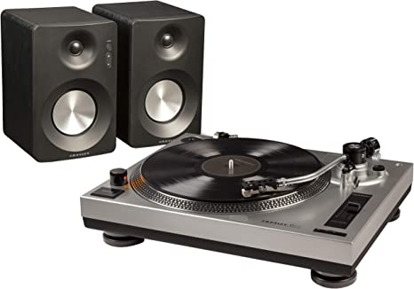 Crosley K100 Belt-Drive Turntable Stereo System with Bluetooth Speakers, Silver