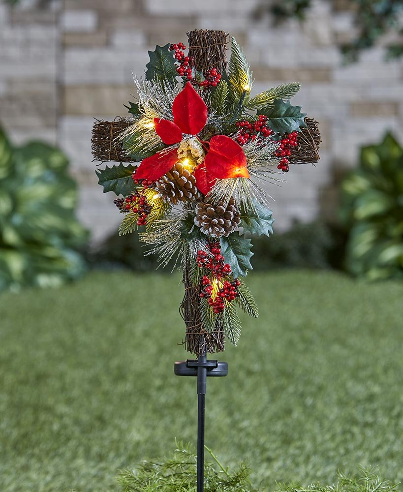 The Lakeside Collection Solar Lighted Christmas Cross Stake