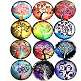 IGOGO 12 PCS Glass Dome Cabochons Half Round Flatback Tree of Life