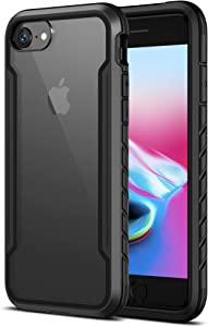 MRYUESG Designed for iPhone SE 2020 Case, Designed for iPhone 7 8 Phone Case [Military Grade Shock-Proof] Aluminum Frame, Silicone Soft Bumper, Clear Hard Back, Heavy Duty Protective Cover, Black