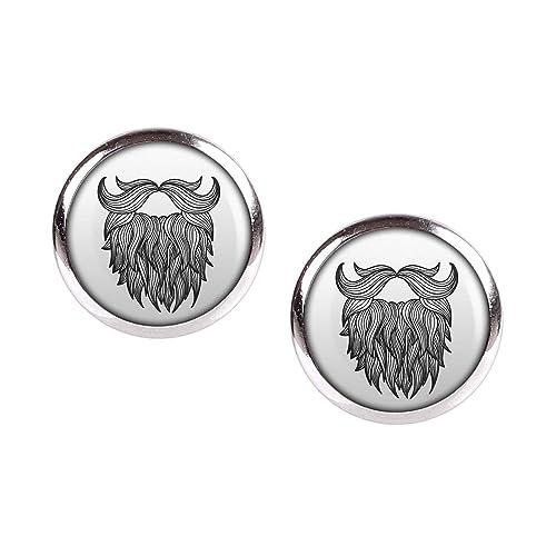 Studs par con motivo Tatuaje barba barba del bigote plata 12mm ...