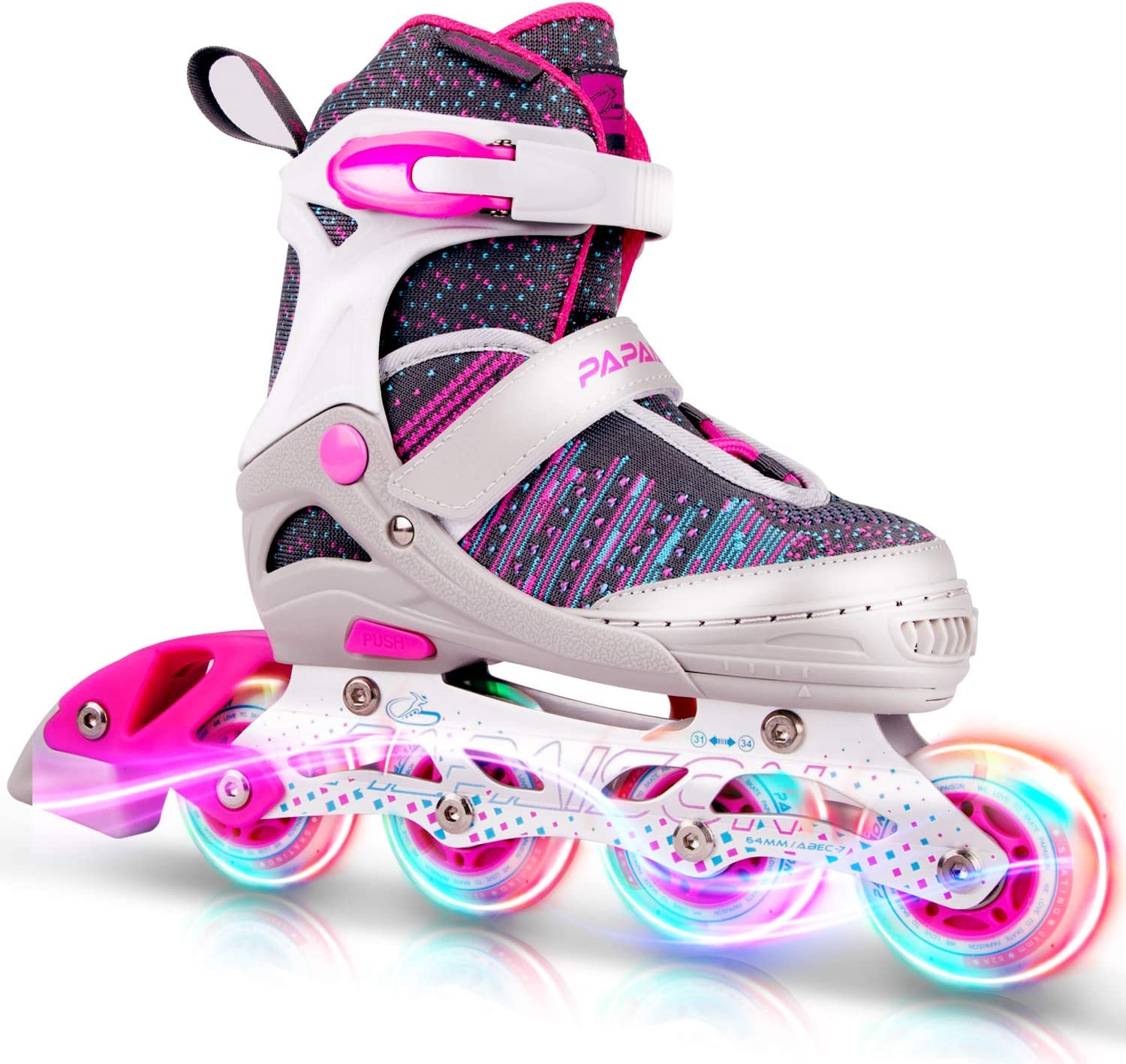 PAPAISON Girls and Boys Adjustable Inline Skates with Light up Wheels, Roller Blades for Kids and Youth, Women and Men
