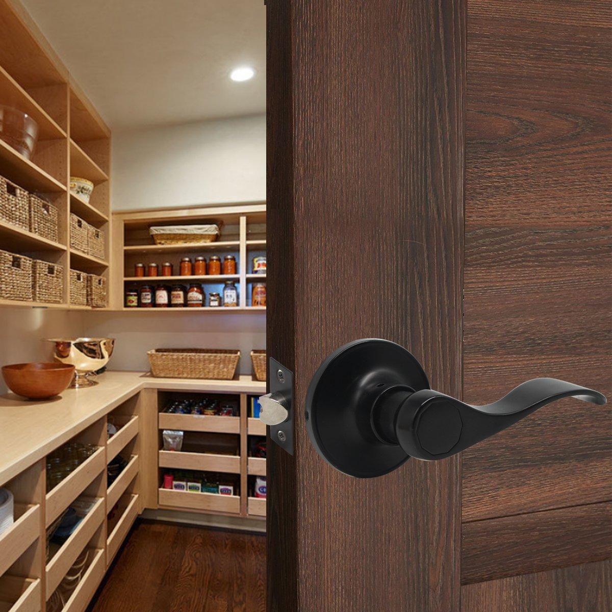 Gobrico 3 Pack Black Interior Door Handles Passage Levers,for Hall//Closet
