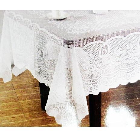 White Floral Lace Tablecloth 60u0026quot; X 90u0026quot; 100% Polyester Linen  Rectangle ...