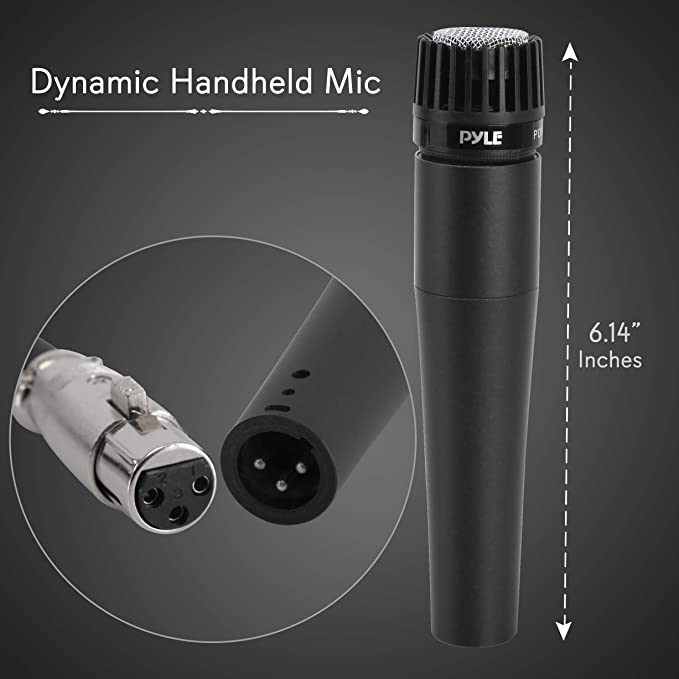 Professional Handheld Moving Coil Microphone - Dynamic Cardioid  Unidirectional Vocal, Built-in Acoustic Pop Filter, Includes 15ft XLR Audio  Cable to