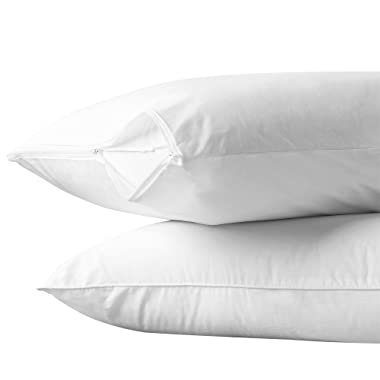 """AllerEase 100% Cotton Allergy Protection Pillow Protectors – Hypoallergenic, Zippered, Allergist Recommended, Prevent Collection of Dust Mites and Other Allergens, Standard Sized, 20"""" x 26"""" (Set of 2)"""