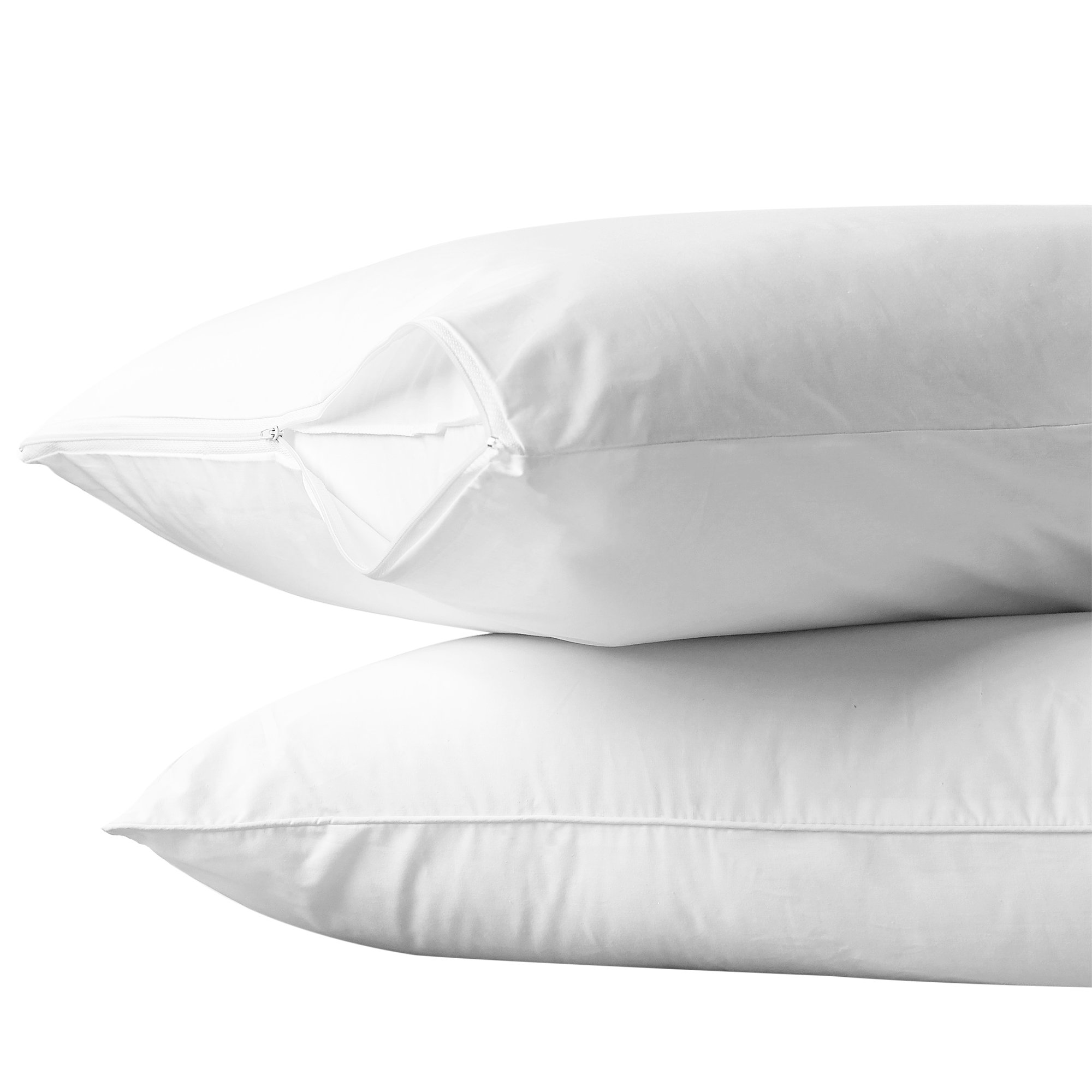"""AllerEase 100% Cotton Allergy Protection Pillow Protectors – Hypoallergenic, Zippered, Allergist Recommended, Prevent Collection of Dust Mites and Other Allergens, Queen Sized, 20"""" x 30"""" (Set of 2)"""