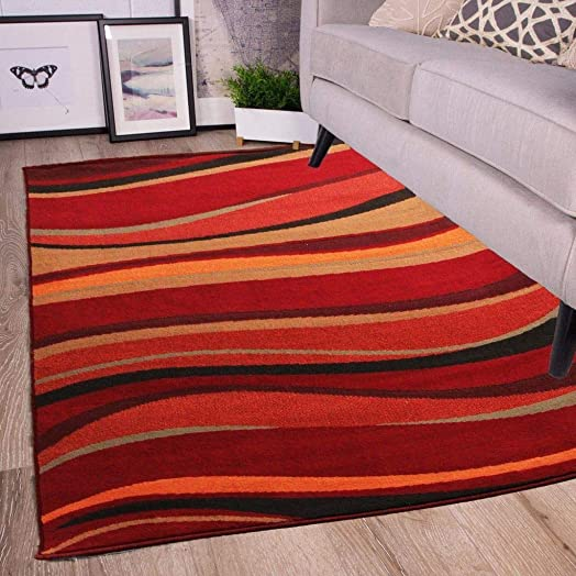 Milan Red Brown Burnt Orange Modern Waves Traditional Living Room Rug 190cm x 280cm