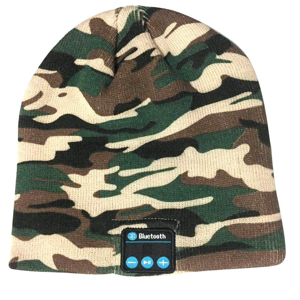 iYoung Cappello invernale Beanie con musica Bluetooth Cappello lavorato a maglia Camouflage Musica wireless Bluetooth personale vivavoce Parlando con altoparlante MP3 Cuffia con cappello caldo inverno