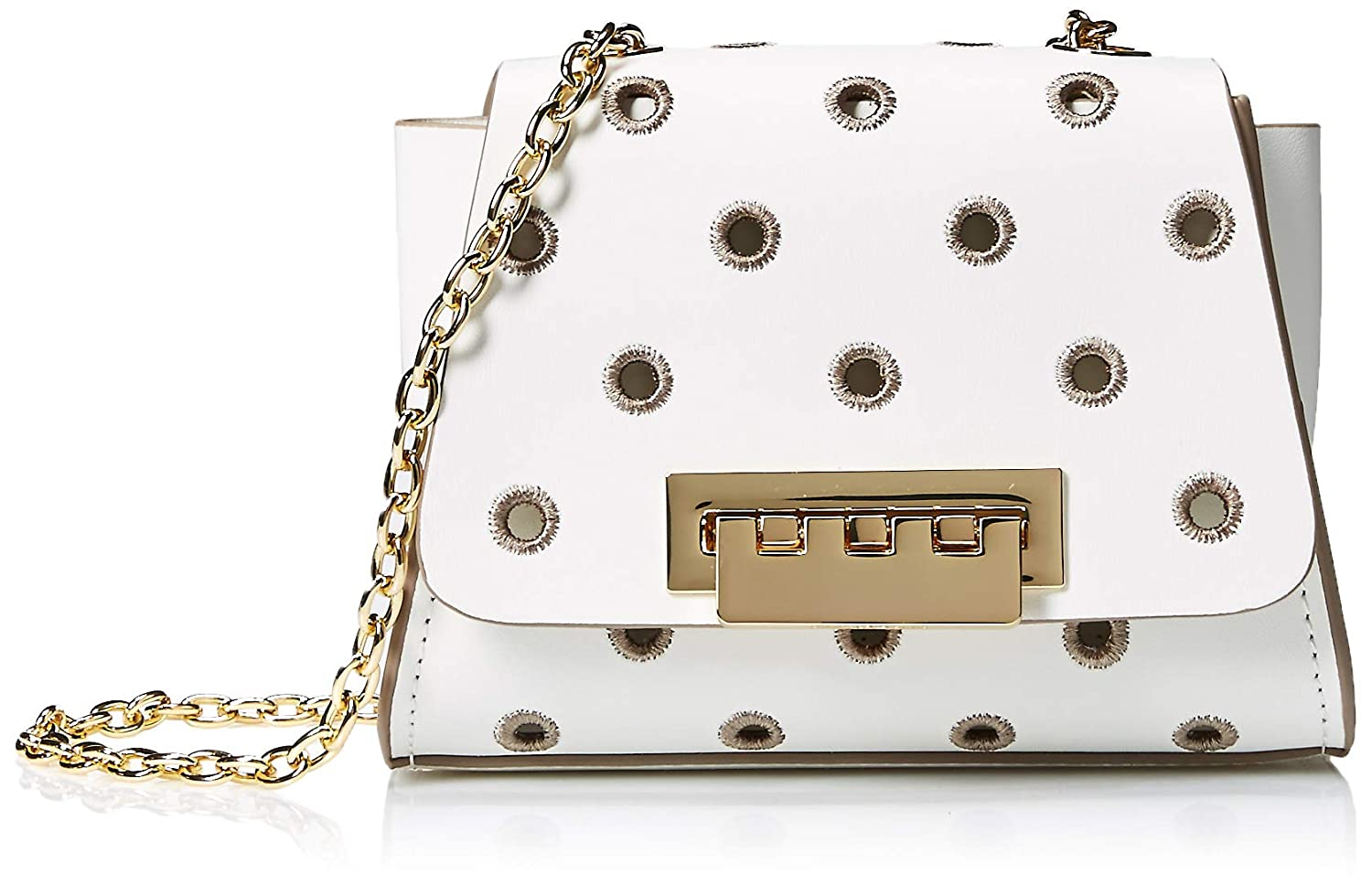 ZAC Zac Posen Eartha Mini Chain Crossbody-Embroidered Polka Dot-White