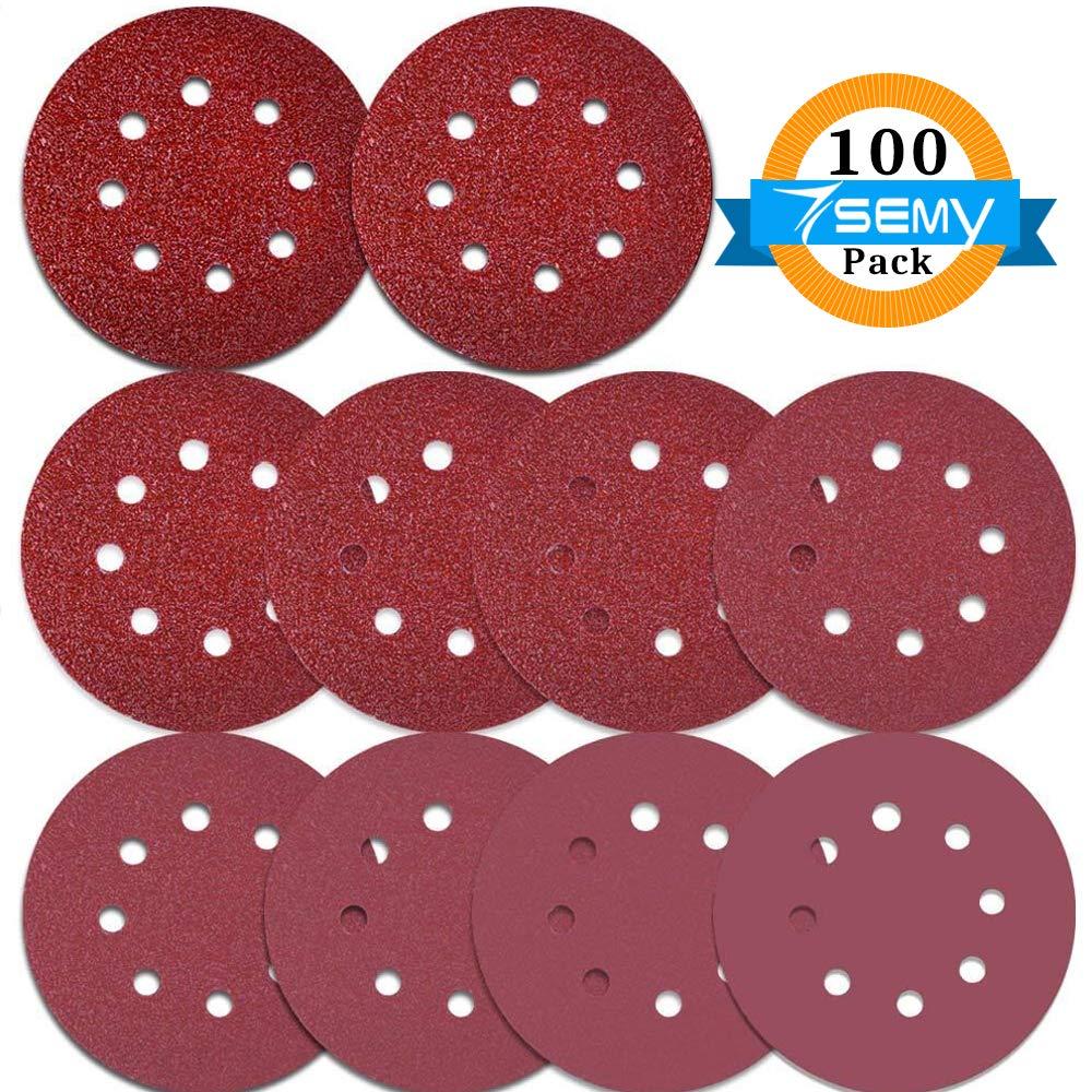 100PCS Sanding Disc Pads 125mm //5 inch 8-Holes 40//60//80//100//120//180//240//320//400//800 Grit Hook and Loop Sandpaper for Random Orbital Sander