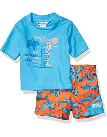 e37c25742 Tommy Bahama Boys' Hawaiian Quarter Zip Sleeve Rash Guard Swim Short Set