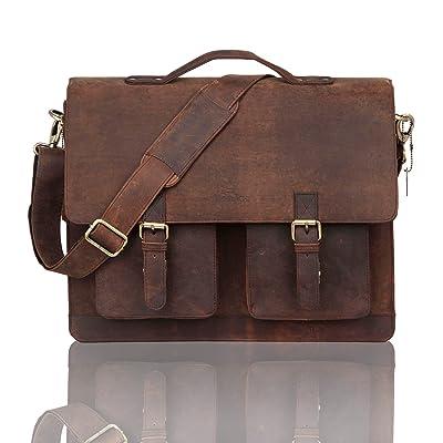 Men's Full Grain Leather 17'' Briefcase Shoulder Messenger Bag Fit 16'' Laptop
