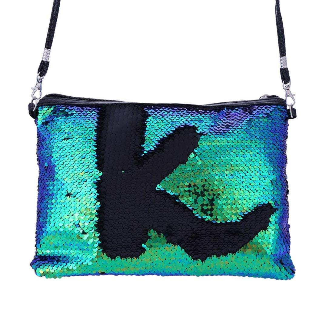 ZYooh Fashion Women Girls Handbag Sequins Tote Purse Messenger Phone Holder Bag Crossbody Shoulder Bags (Green) by iLH_ Crossbody Bag (Image #1)