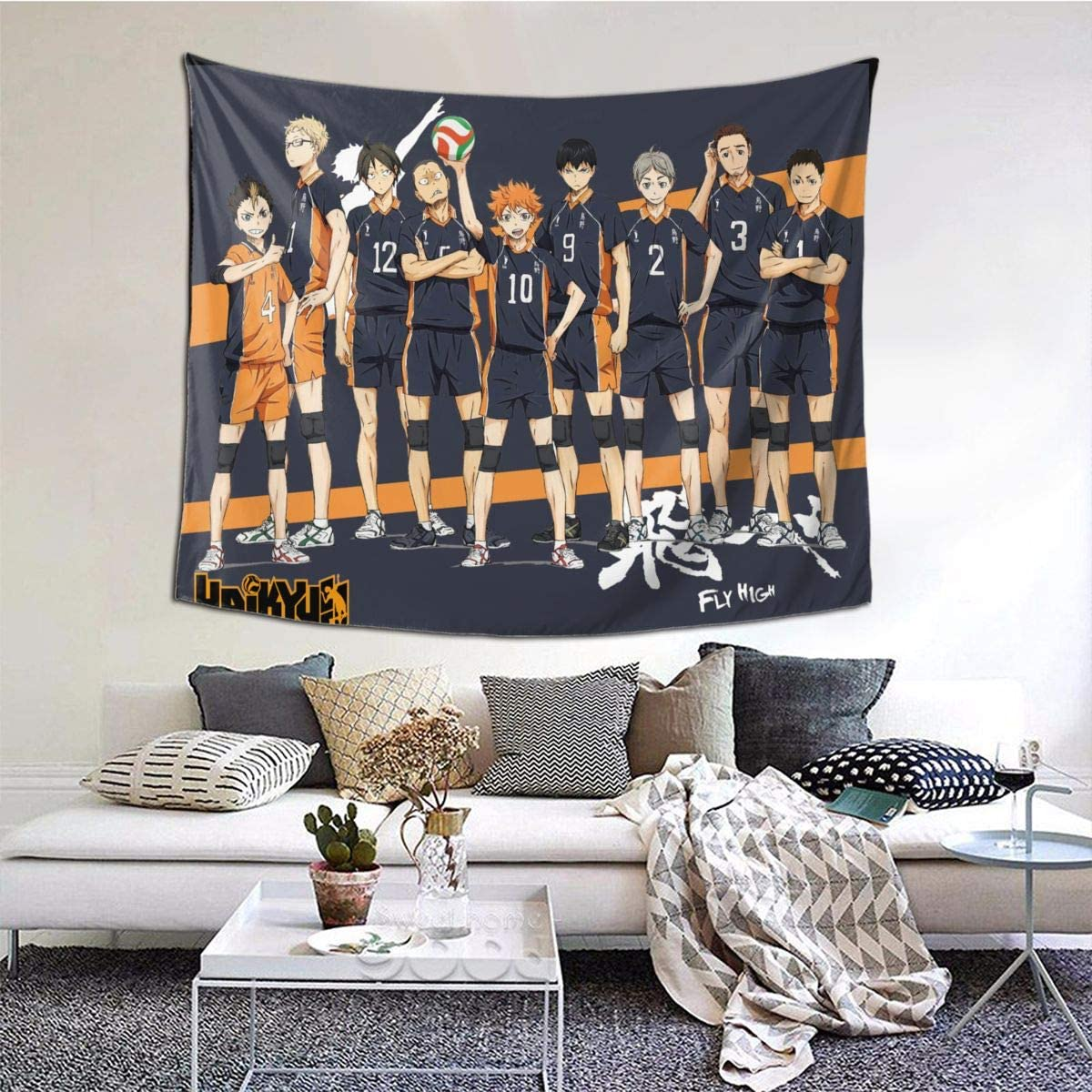 Haikyuu Tapestry Wall Hanging 3D Printing Tapestry Animetapestry for Dorm Living Room Bedroom 50x60in