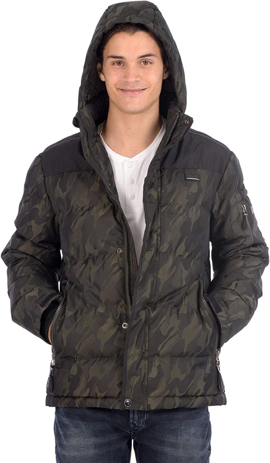 Projek Raw Mens Camo Zip Front Jacket with Removable Hood