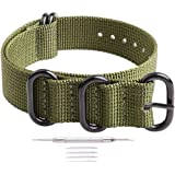 Ritche 18mm 20mm 22mm 24mm NATO Strap with Black Heavy Buckle Watch Band