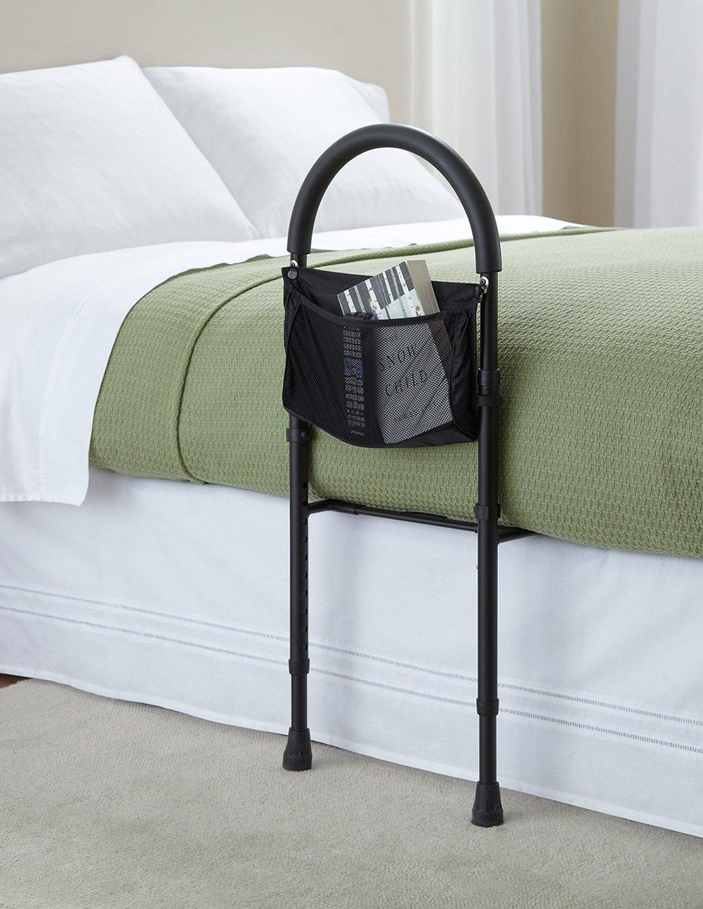 ベッドサイドの手すり老いた老人の女性フェンケンのガードレールオフベッドの援助黒い脚 B07CNYV6XC