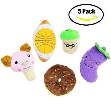 Chillón del perro juguetes para perros frutas y verduras cachorro perro peluches (un paquete de