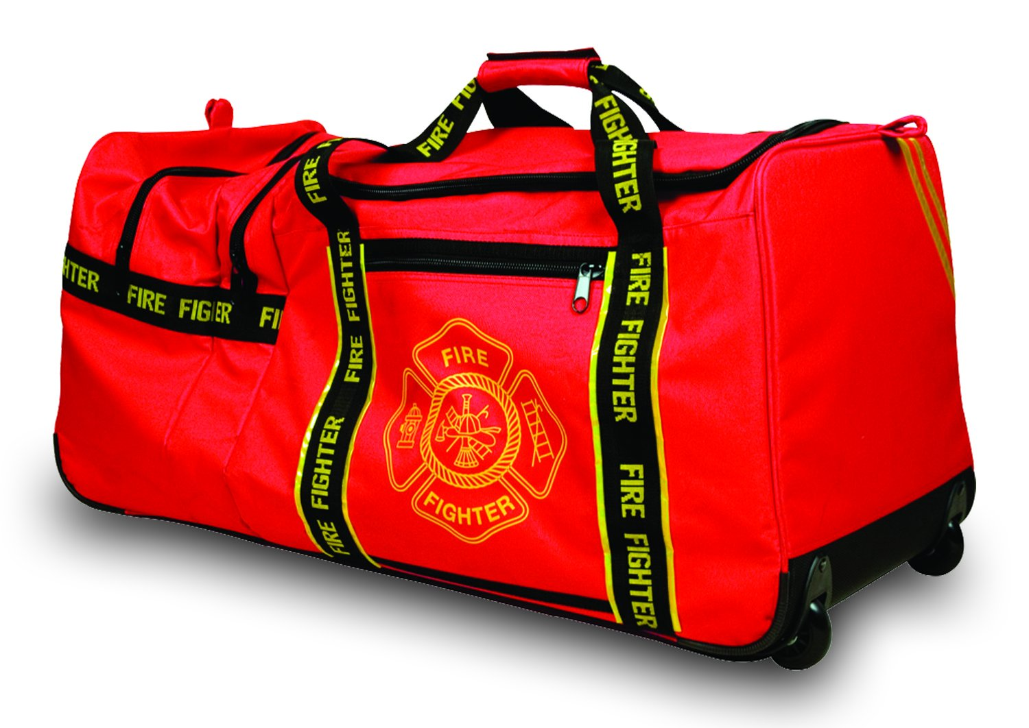 """Red 3 Compartments with 2 Outside Zip Pockets /""""Firefighter/"""" Woven In Reflective Trim Along Bag Straps 29/"""" x 17/"""" x 16/"""" OccuNomix OK-3000 Large Gear Bag Maltese Cross Logo"""