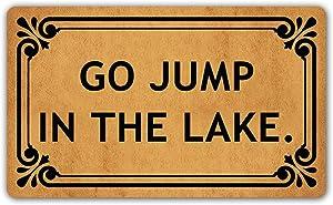 DoubleJun Funny Doormat Go Jump in The Lake Entrance Mat Floor Rug Indoor/Outdoor/Front Door Mats Home Decor Machine Washable Rubber Non Slip Backing 29.5