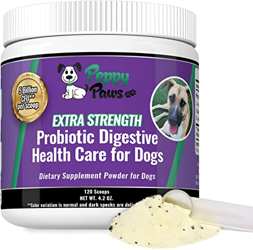 Probiotics for Dogs – Improves Dog Diarrhea – Constipation – Gas – Yeast – Bad Breath – Dog Allergies – All Natural Probiotic Powder – 5 Billion CFUs – Probiotics for Puppies to Seniors – 120 Scoops
