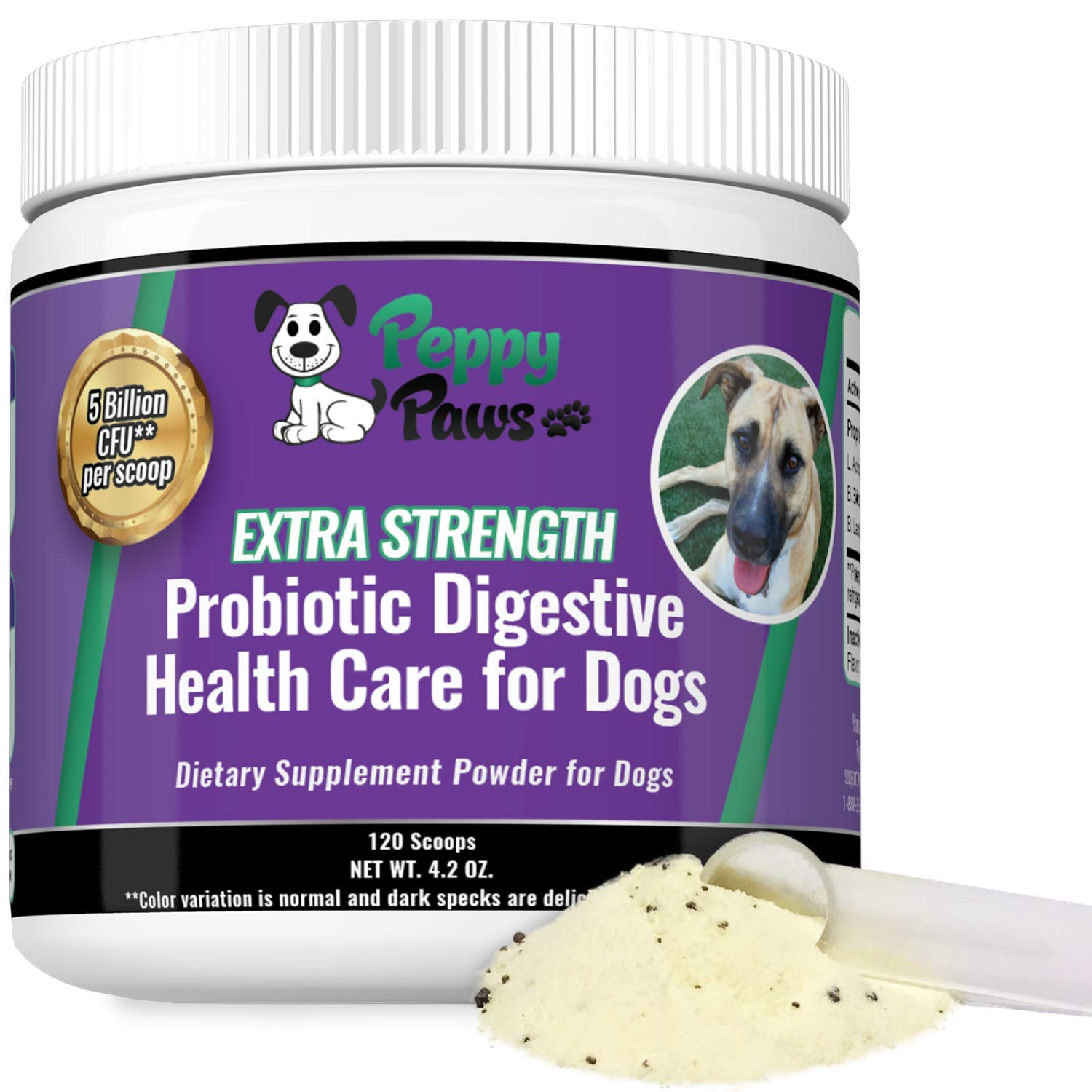 Probiotics for Dogs - Improves Dog Diarrhea - Constipation - Gas - Yeast - Bad Breath - Dog Allergies - All Natural Probiotic Powder - 5 Billion CFUs - Probiotics for Puppies to Seniors - 120 Scoops by Peppy-Paws