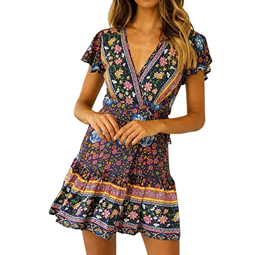 86faa664ad8 Women Bohemian Print Dress Sexy Casual High Waist National Style Midi Dress  V Neck Short Sleeve