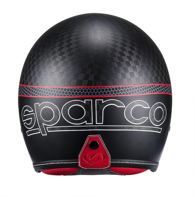 Carbon M Sparco 0033412MNRRS Casque Cafe Racer