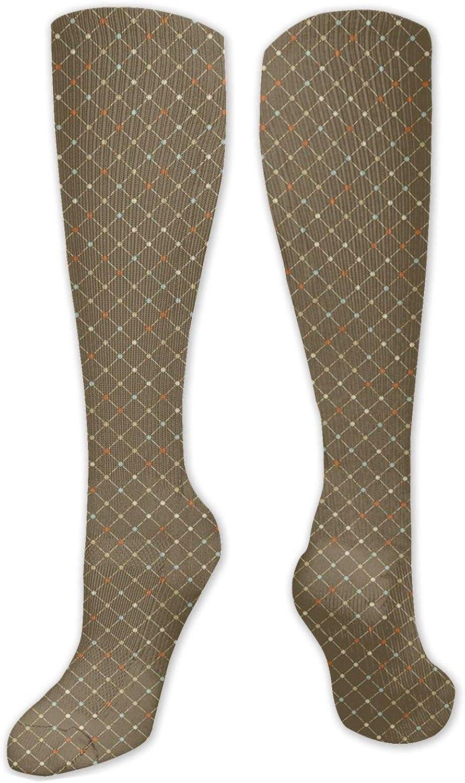 Personalizado Unisex,Arreglo floral Vintage patrón a cuadros líneas punteadas naturaleza surreal,Calcetines hasta la rodilla Cool Sport Viajes medias largas 50cm