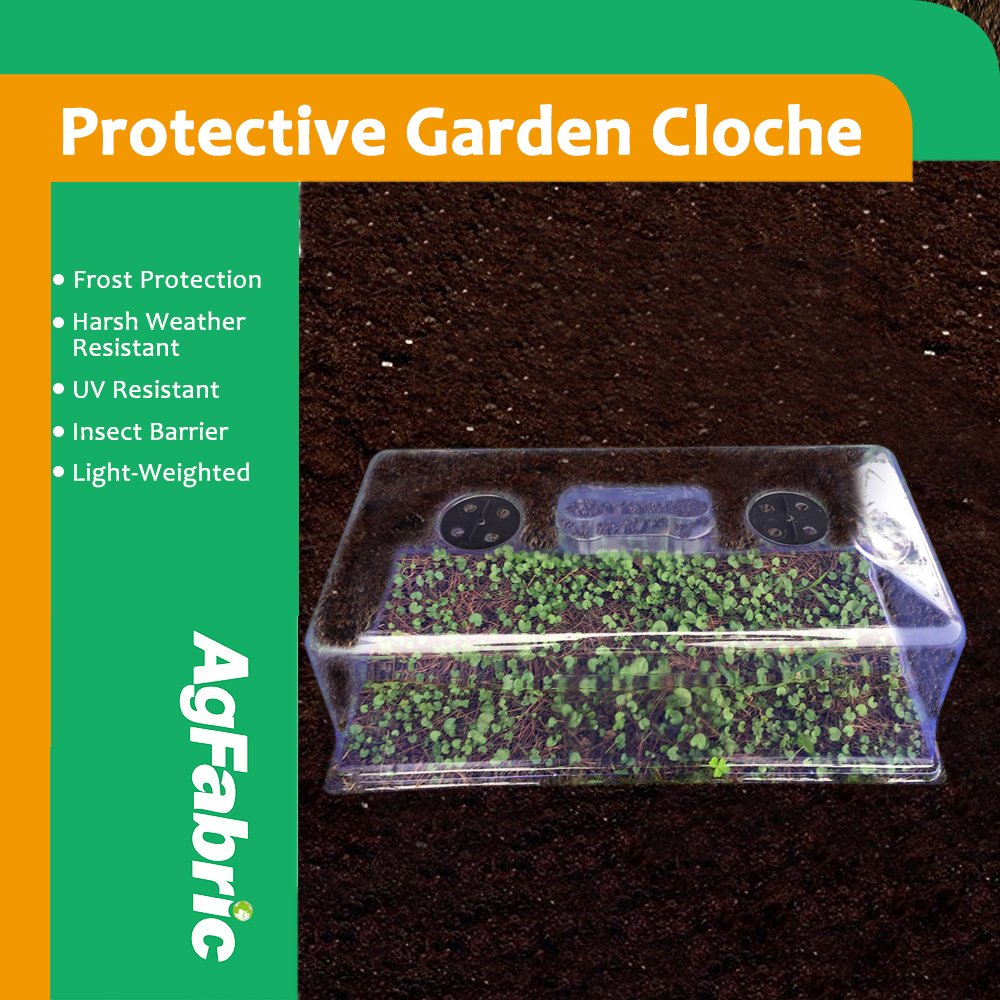 Agfabric Plastic Protective Garden Cloche and Plant Cover,Summer Shading,Insect Barrier 22''Lx11.8''Wx22''H, Pack-5