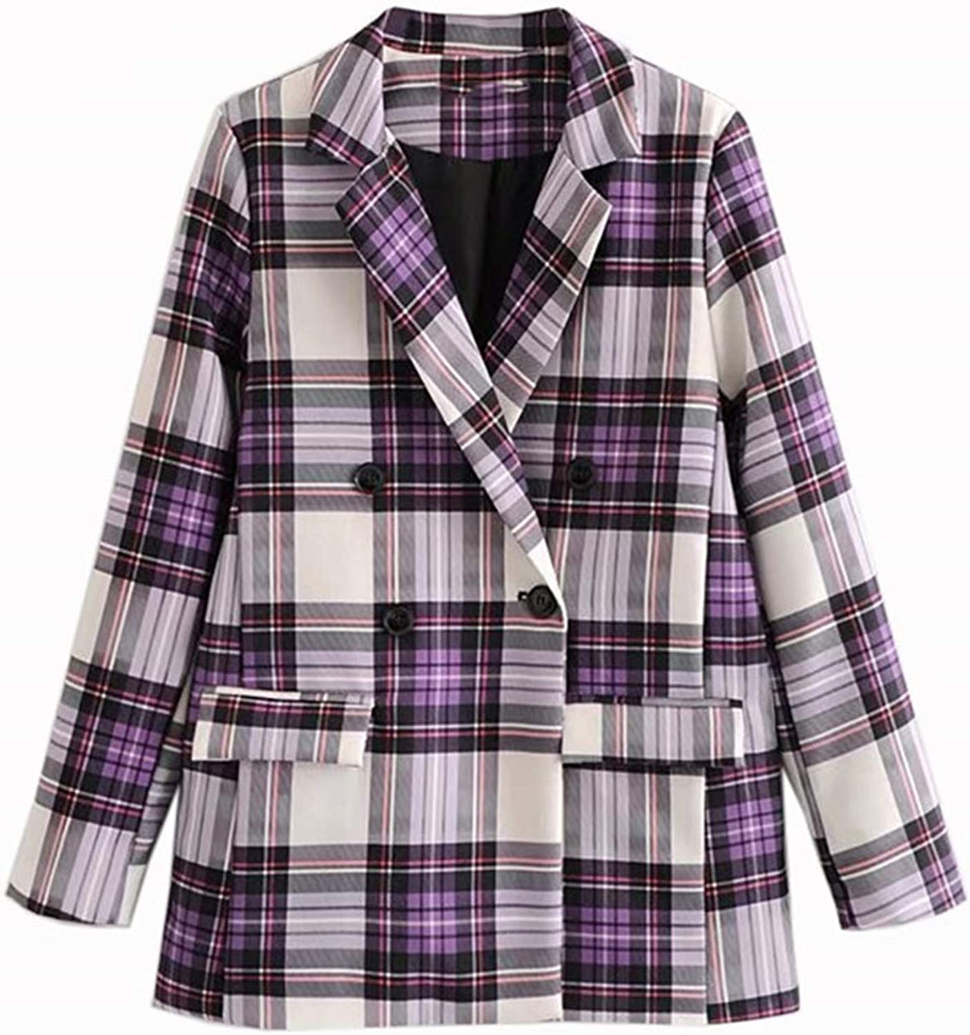 Beancan Women Elegant Plaid Blazer Long Sleeve Outerwear Notched Collar Pocket Office Lady Casual Tops L