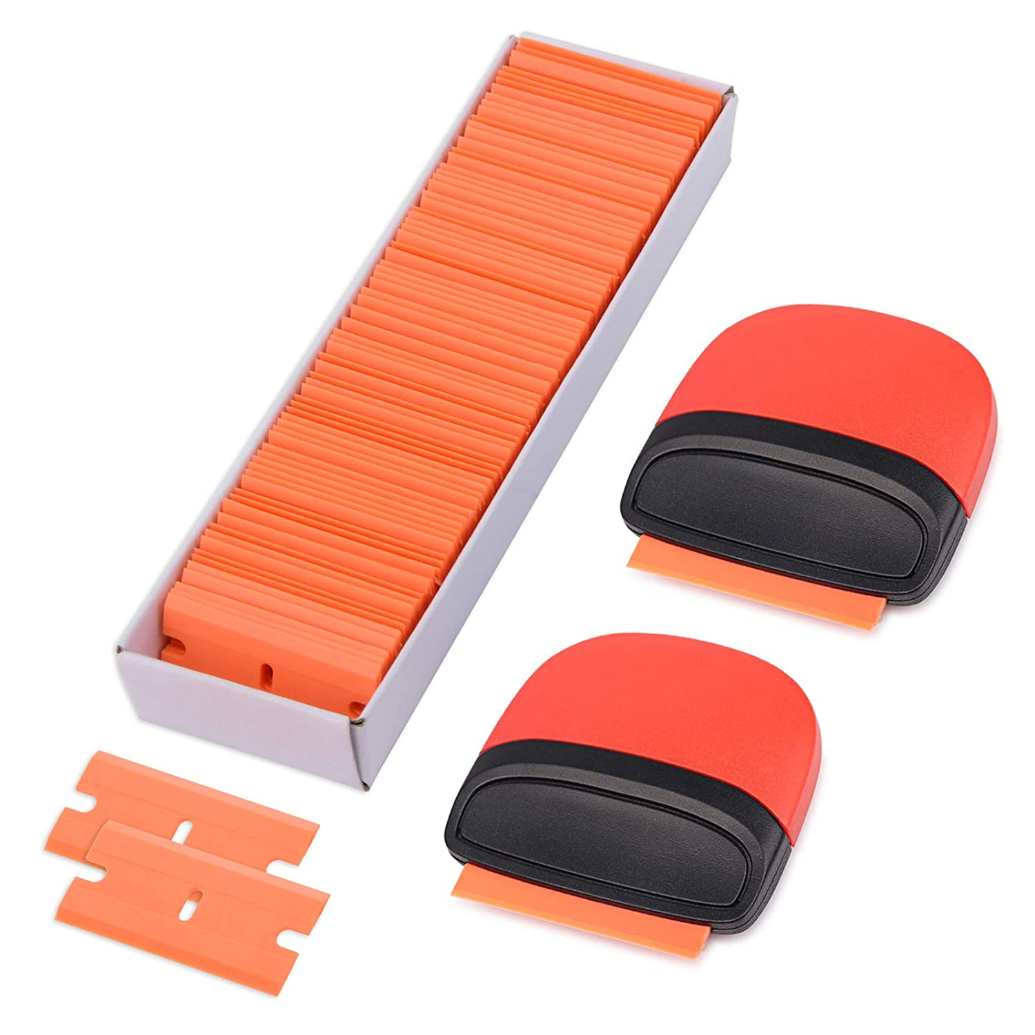 Gomake Mini Size Plastic Razor Blades Scraper Old Label and Decal Cleaning 2PCS Scraper with 100PCS Double Edge Plastic Blades for Window Glass Sticker Removal