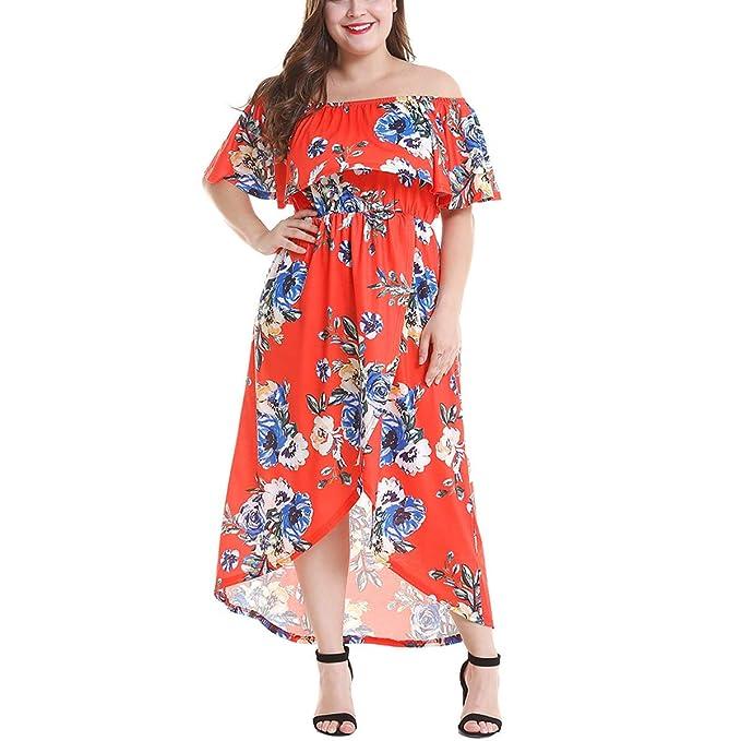 3681bc8fb Nhiswsgt Vestido Estampado Floral con Volantes y Volantes divididos Largos  Vestidos de Mujer Talla Grande (
